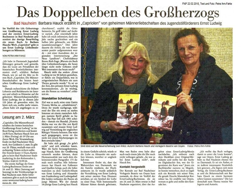 Das Doppelleben des Großherzogs, FNP 22.02.2018, Text und Foto: Petra Ihm-Fahle