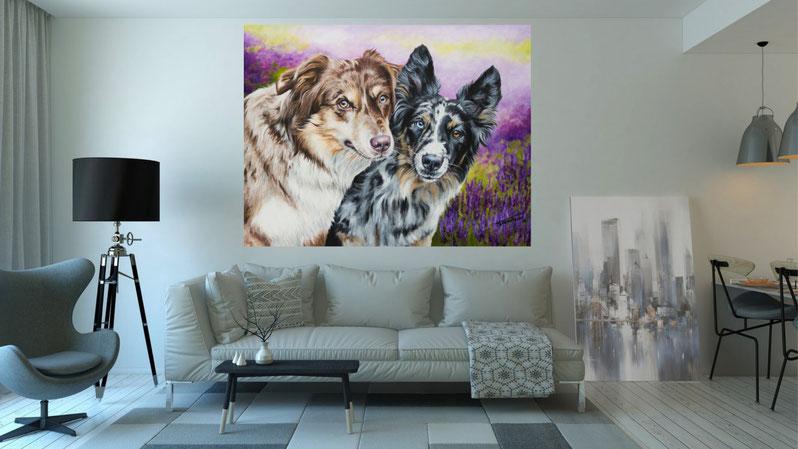 """Wohnzimmer Beispiel Acrylgemälde """"Australian Shepherd Maevee & Aimee"""" von Künstlerin Hanna Stemke"""