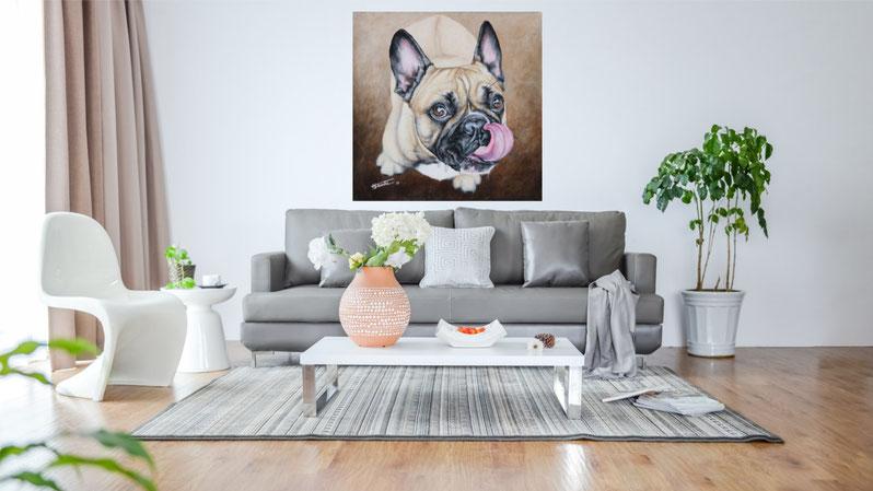 """Wohnzimmer Beispiel Acrylgemälde """"Französische Bulldogge Lotta"""" von Künstlerin Hanna Stemke"""