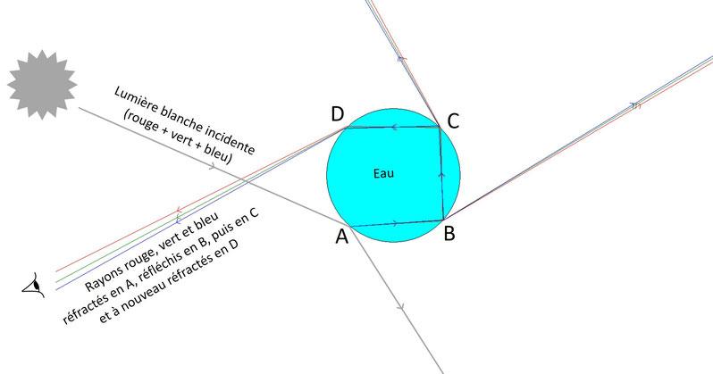 Schéma de la double réflexion dans une goutte d'eau (arc secondaire, arc-en-ciel)