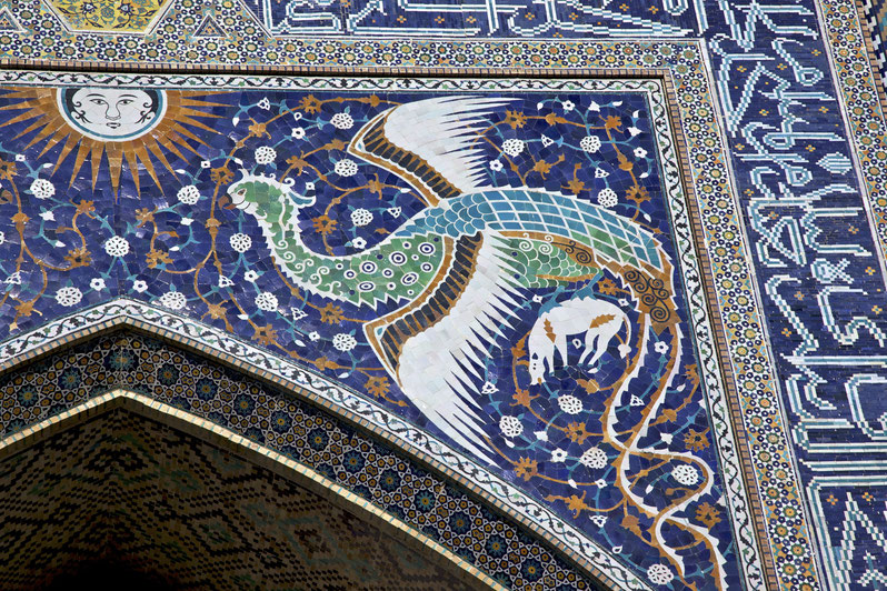 Simurgh in un dettaglio della Madrasa di Nadir Divanbegi, Bukhara - Uzbekistan