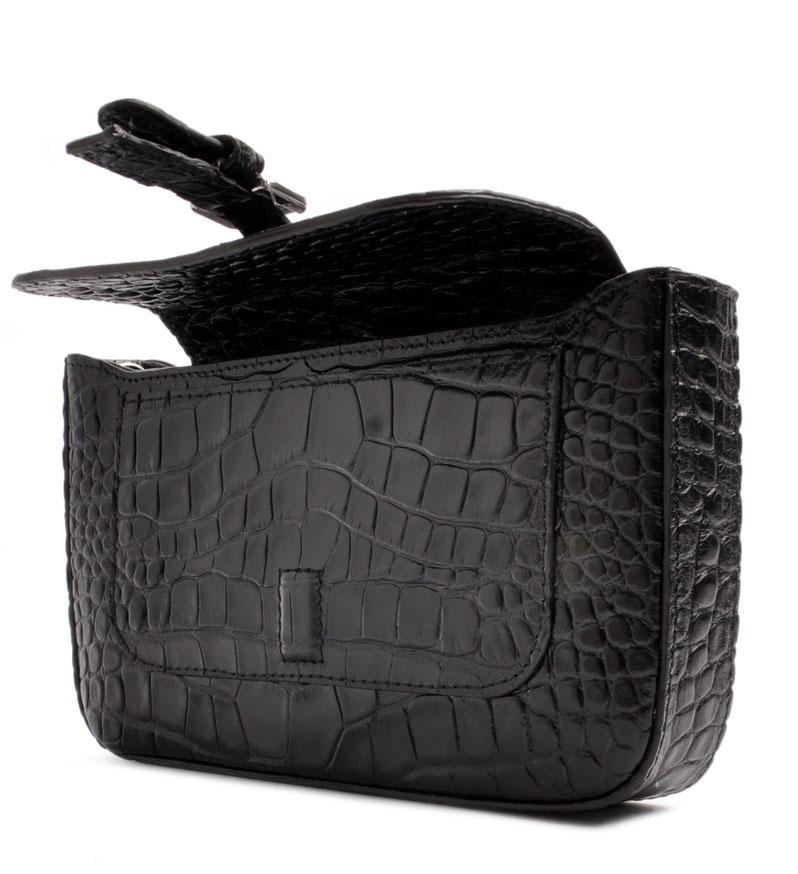 Clutch Dirndltasche Leder schwarz   . OSTWALD Traditional Craft