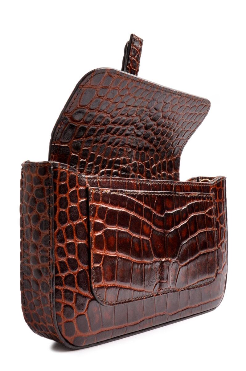 Clutch Dirndltasche Leder braun   . OSTWALD Traditional Craft