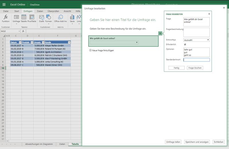 Excel online Umfrage erstellen