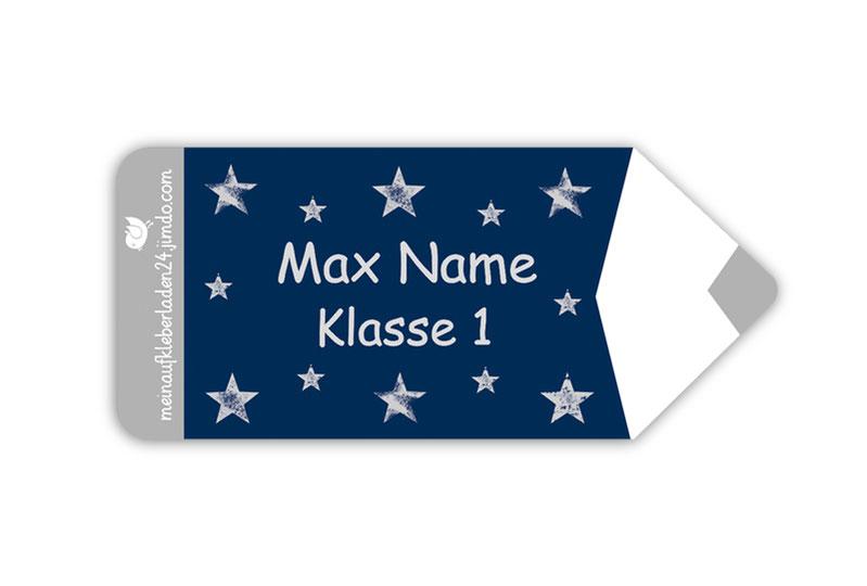 Form Namensaufkleber - Motiv: Stift Sterne - hochwertige, umweltfreundliche PVC-freie Folie