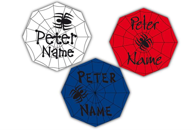 Form Namensaufkleber - Motiv: Spinne im Spinnennetz - hochwertige, umweltfreundliche PVC-freie Folie