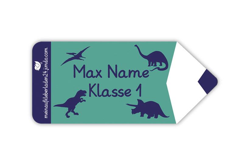 Form Namensaufkleber - Motiv: Stift Dinos- hochwertige, umweltfreundliche PVC-freie Folie