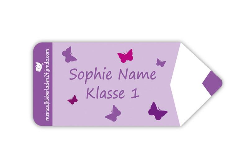 Form Namensaufkleber - Motiv: Stift Schmetterlinge - hochwertige, umweltfreundliche PVC-freie Folie