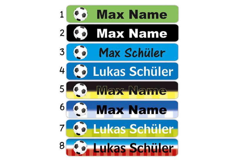 Stifteaufkleber 0,7 x 4,5 cm - hochwertige PVC-freie Folie - mit Namen personalisierbar - Motiv: Fußball