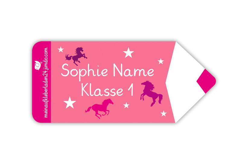 Form Namensaufkleber - Motiv: Stift Pferde mit Sternchen - hochwertige, umweltfreundliche PVC-freie Folie