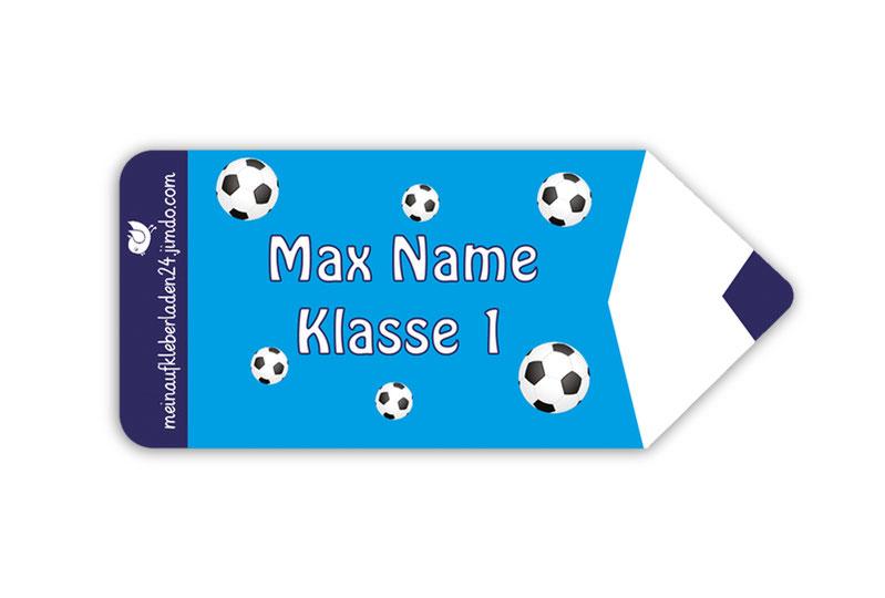 Form Namensaufkleber - Motiv: Stift Fußball - hochwertige, umweltfreundliche PVC-freie Folie