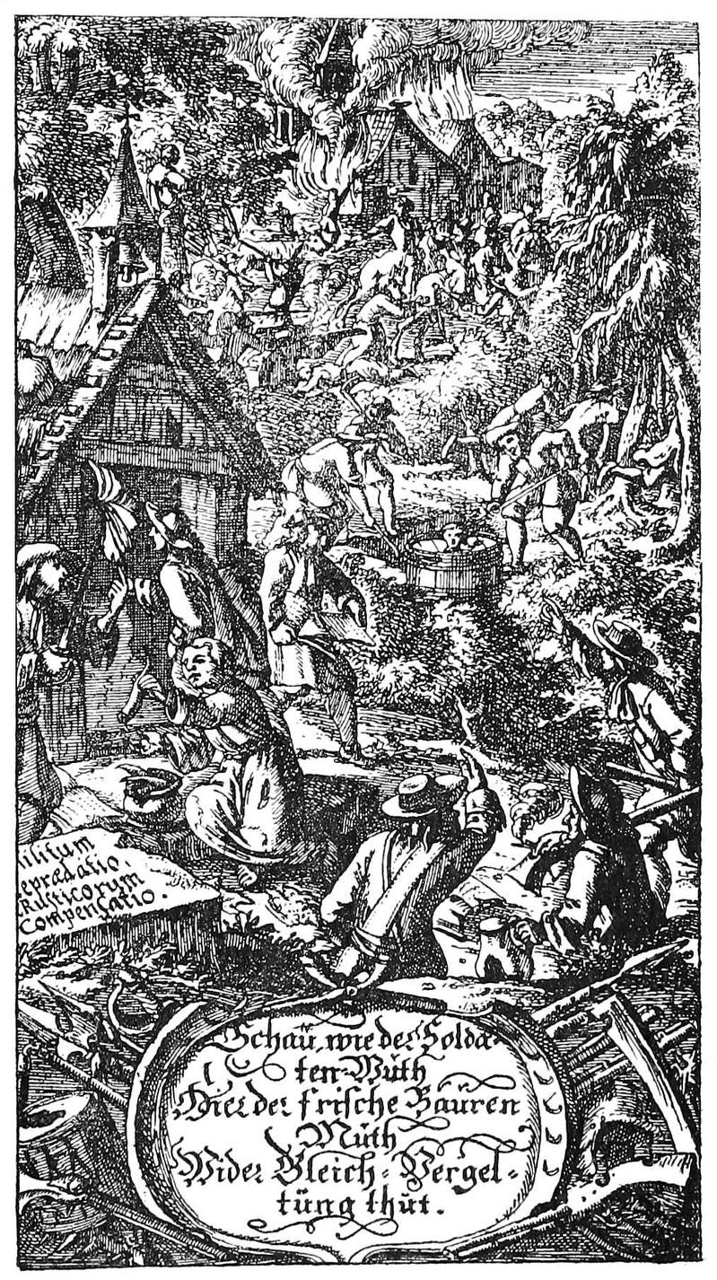 """Soldatengreul und Martern von Bauern. Kupferstich aus """"Simplicissimus"""". Nürnberg 1684."""