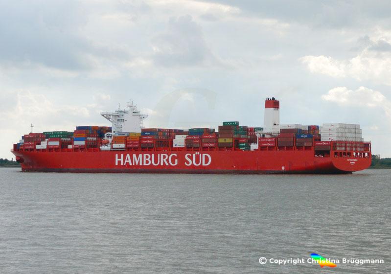 """Hamburg-Süd Containerschiff """"CAP SAN MARCO"""" auf der Elbe 02.10.2016"""