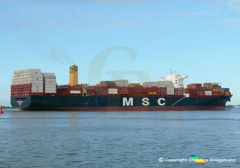 Containerschiff MSC SHREYA B auf der Elbe 21.08.2018