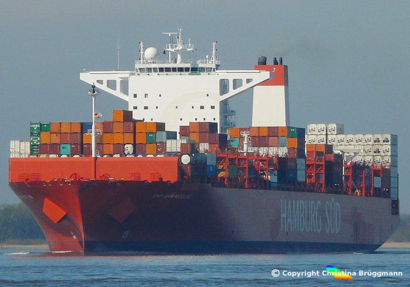 """Hamburg-Süd Containerschiff """"CAP SAN NICOLAS"""" auf der Elbe 27.03.2017"""