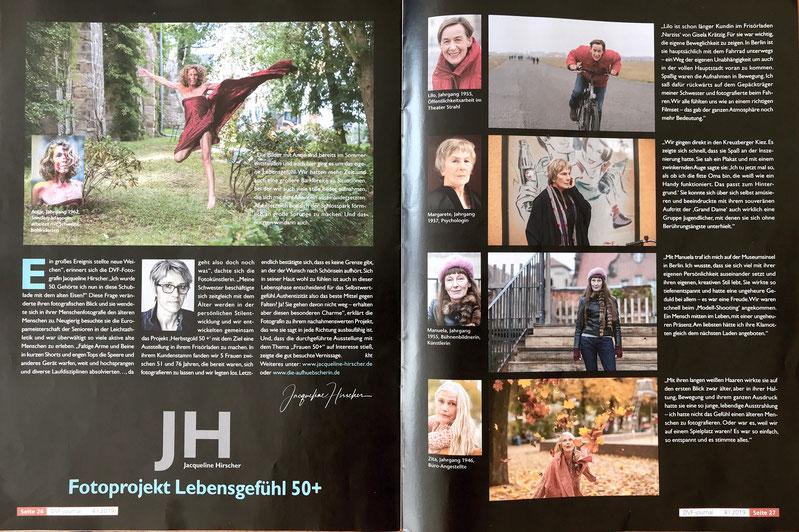 Doppelseite im DVF-Jounal mit Text über mich und der Projektidee zu Lebensgefühl 50+ und Fotos von 5 Frauen.