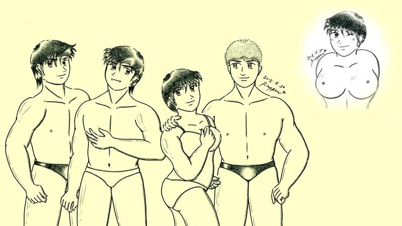 左からケンジ、健太郎、真雪、ケネス、(マユミ)