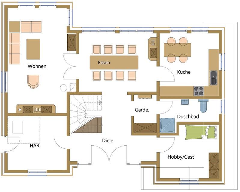 Schwedenhäuser, Holzhäuser mit überdachtem Eingang