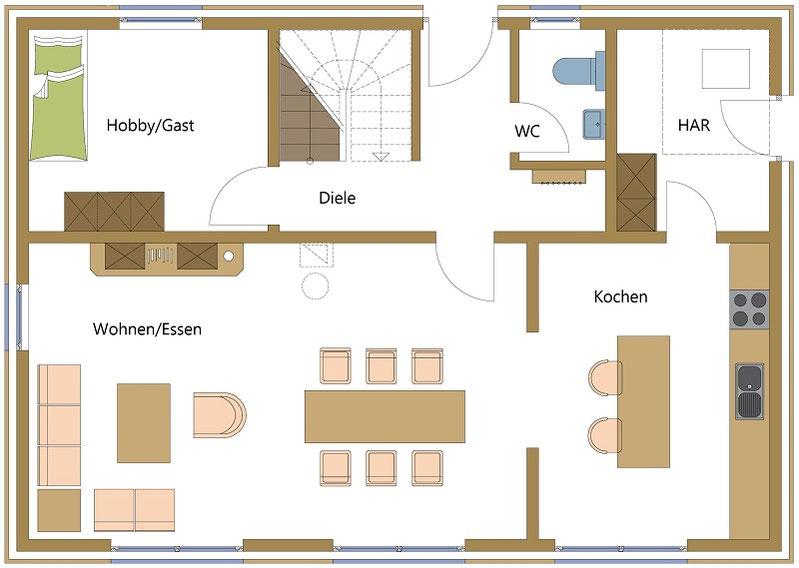 Holzhaus mit großem Wohn-, Koch- und Essbereich