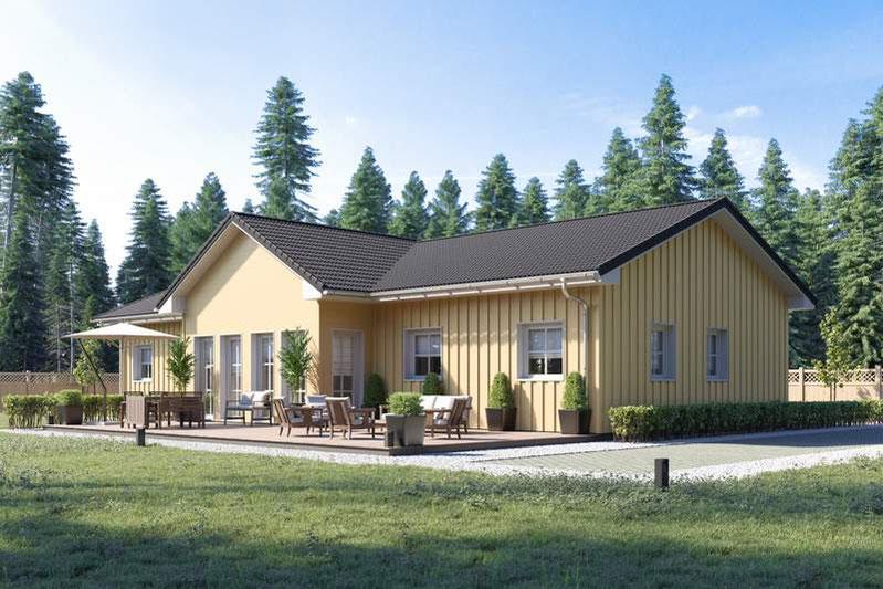 Schwedenhaus im Bungalowstil, Schwedenhäuser als Komplettangebot, Schwedenhäuser Grundrisse
