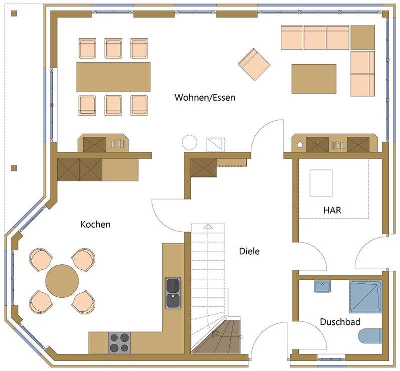 Holzhäuser, Schwedenhäuser mit großer Küche