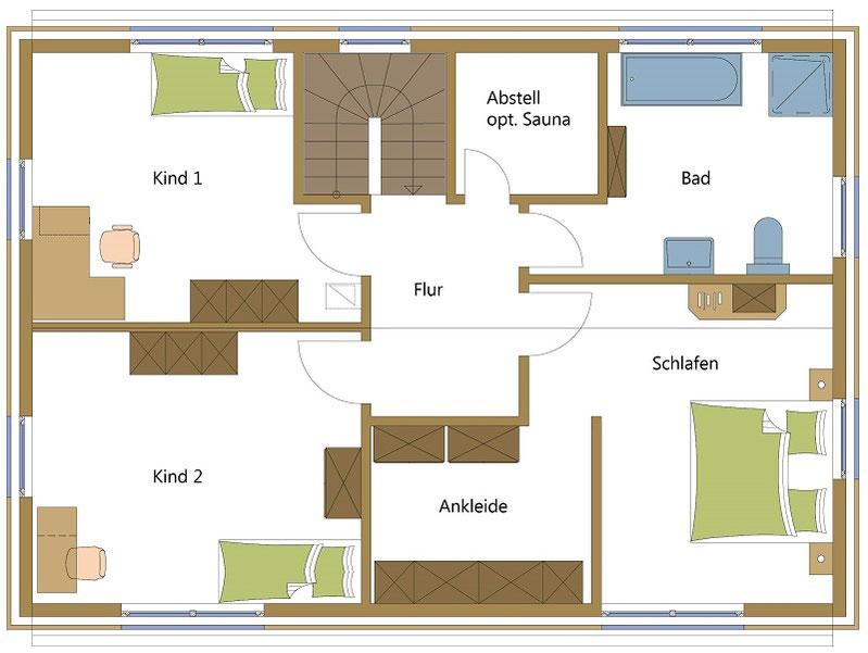 Holzhaus mit Platz für eine Sauna und Ankleidezimmer