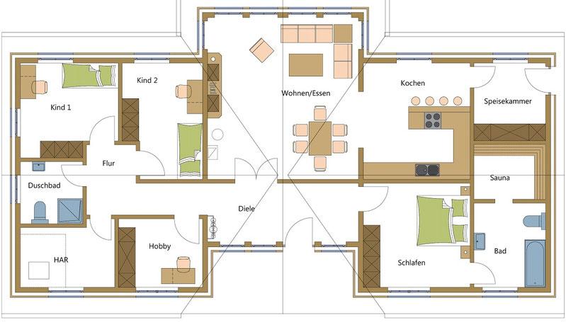 Schwedenhaus mit getrennten Schlaf und Wohnbereichen