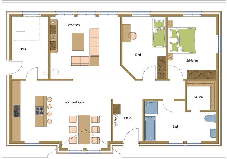 Schwedenhäuser, Holzhäuser im offenen Stil