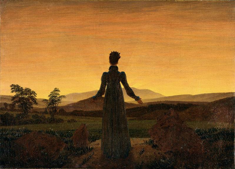 """C.D. Friedrich, """"Donna al tramonto del sole"""" (1818)"""