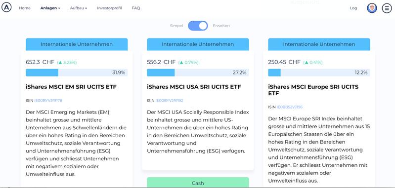 Bildschirmfoto Performance der einzelnen ETFs bie Selma