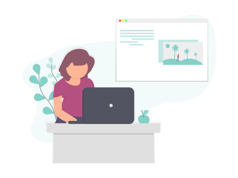 Eine Mitarbeiterin erstellt einen Artikel für den Unternehmensblog.