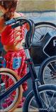 Mädchen mit Fahrrädern