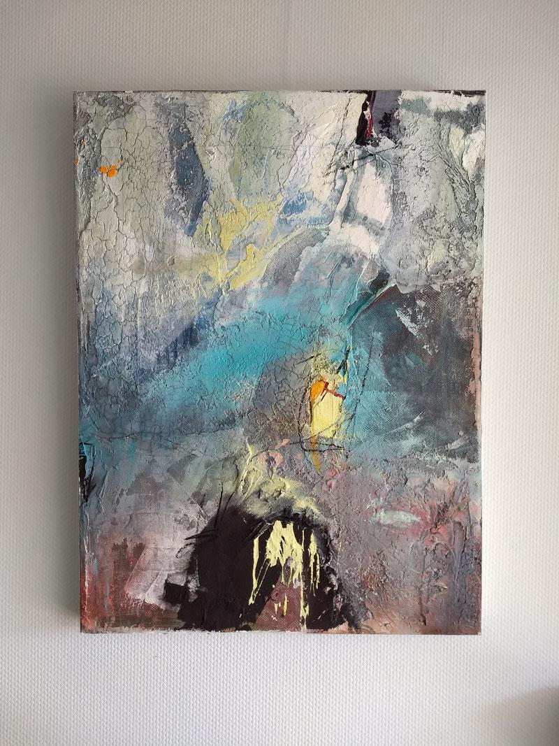 HOHENNEUFFEN 2020,  Acryl auf Leinwand mit haptischen Strukturaufträgen,  60x80cm