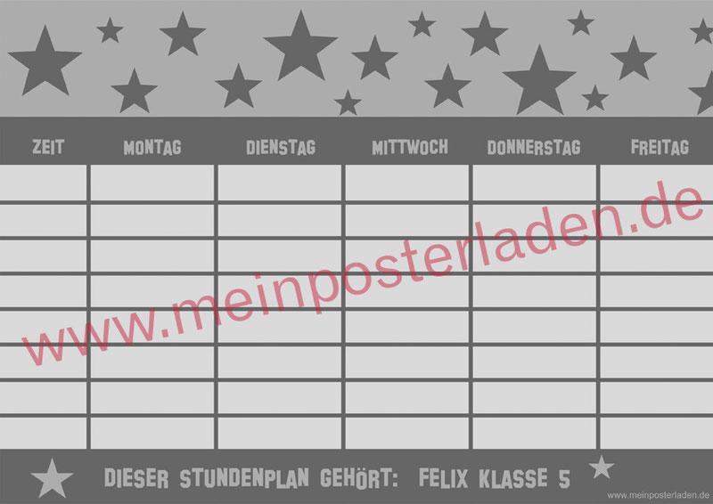 A4 Stundenplan mit Sterne in grau - personalisierbar und optional wiederbeschreibbar