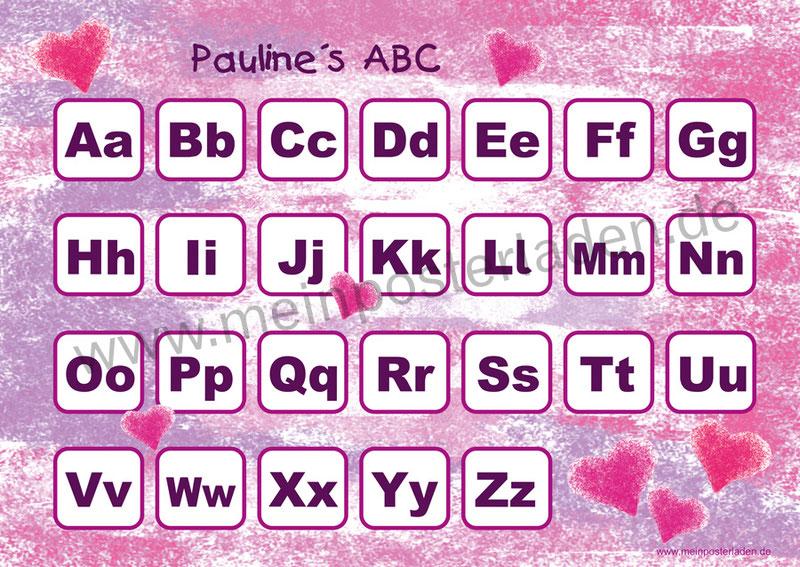 ABC Lernposter für die Grundschule mit romantischen Pastell Herzchen in pink und rosa, optional laminiert