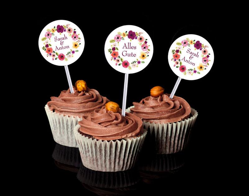 """personalisierbare Kuchendeko """"Alles Gute"""" - selbstklebende Deko für Cupcakes"""