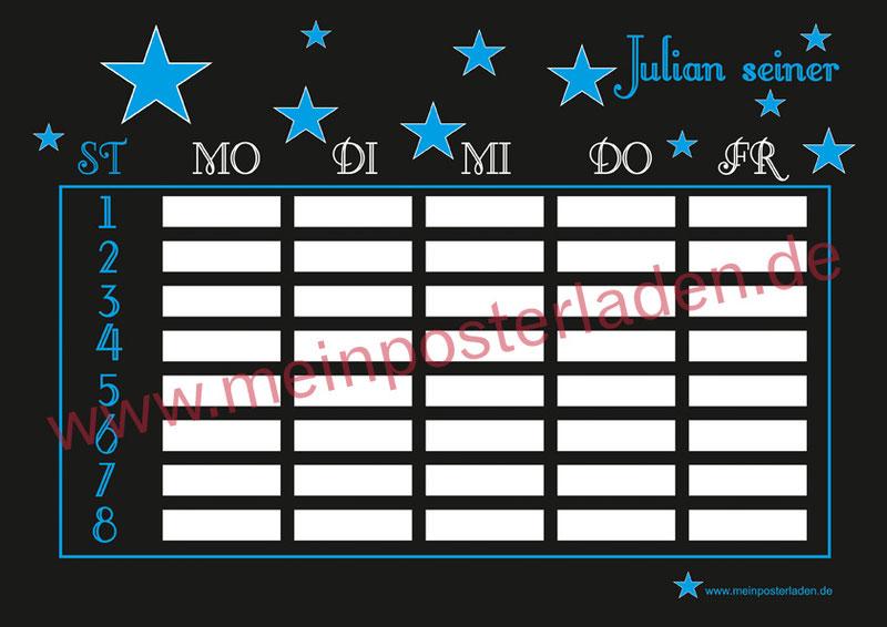 cooler schwarzer A4 Stundenplan mit blauen Sternen - personalisierbar und optional wiederbeschreibbar