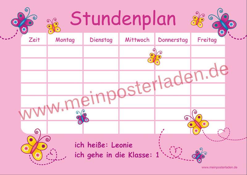 A4 Stundenplan in rosa mit niedlichen Schmetterlingen, personalisierbar und optional wiederbeschreibbar
