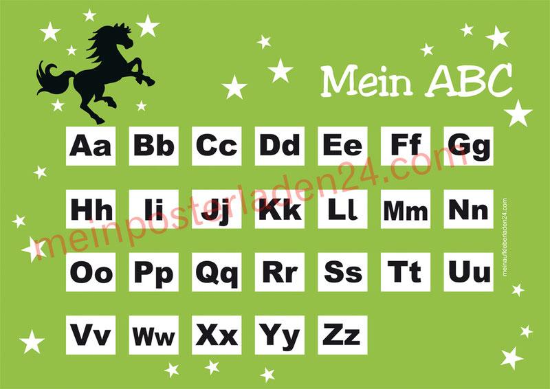 ABC Lernposter für die Grundschule mit Wildpferd und Sternchen, optional laminiert