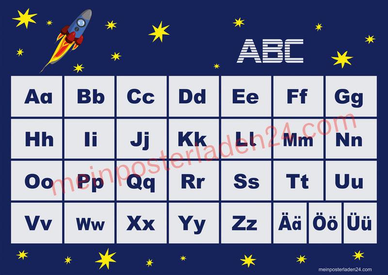 ABC Lernposter für die Grundschule Rakete mit Sternchen, optional laminiert