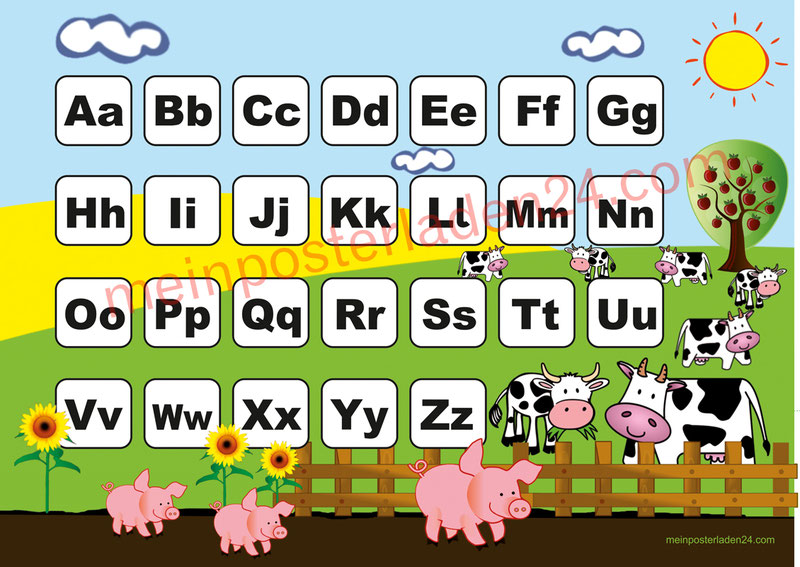 ABC Lernposter für die Grundschule Bauernhof mit Schweinchen und Kühen, optional laminiert