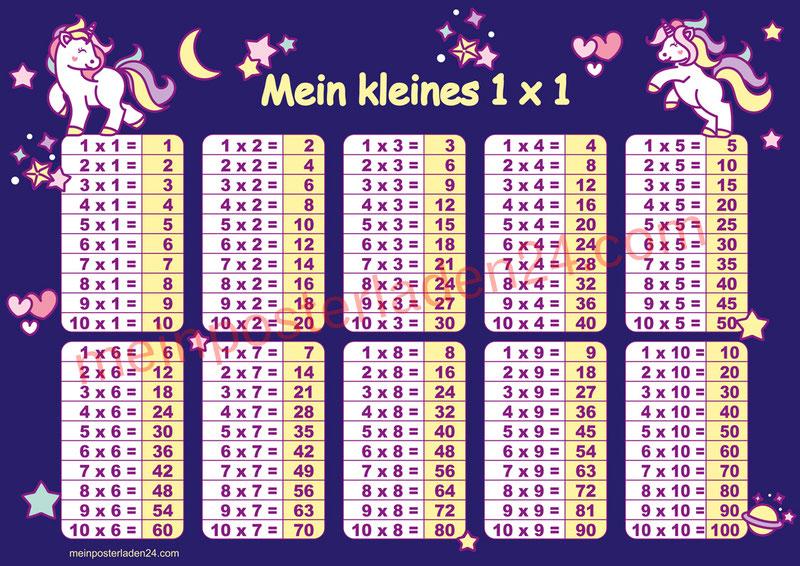 1 x 1 Lernposter für die Grundschule mit niedlichen Einhörnern, optional laminiert