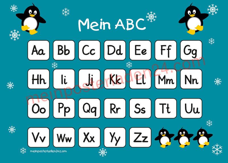 ABC Lernposter für die Grundschule mit niedlichen Pinguinen und Schneesternchen, optional laminiert