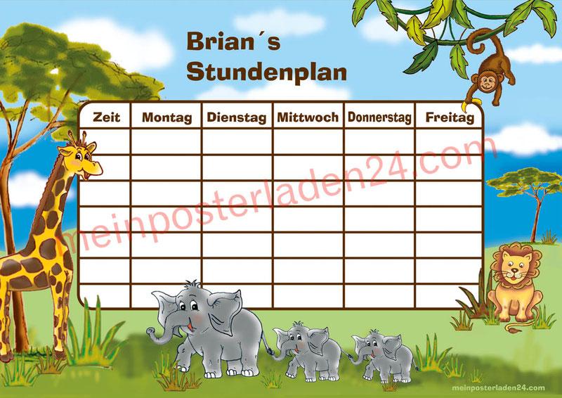A4 Stundenplan mit Tiere der afrikanischen Savanne, Giraffe, Affe, Elefant, Löwe, personalisierbar und optional wiederbeschreibbar