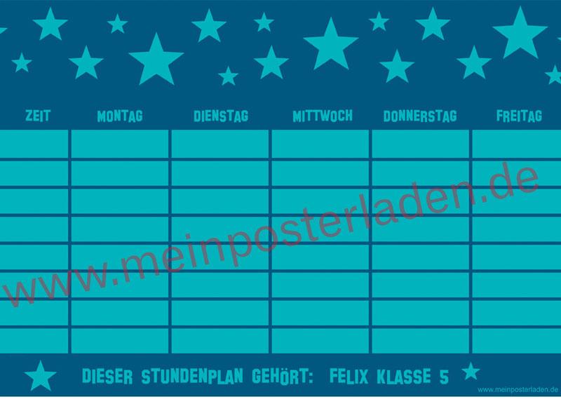 A4 Stundenplan mit Sterne in türkis - personalisierbar und optional wiederbeschreibbar