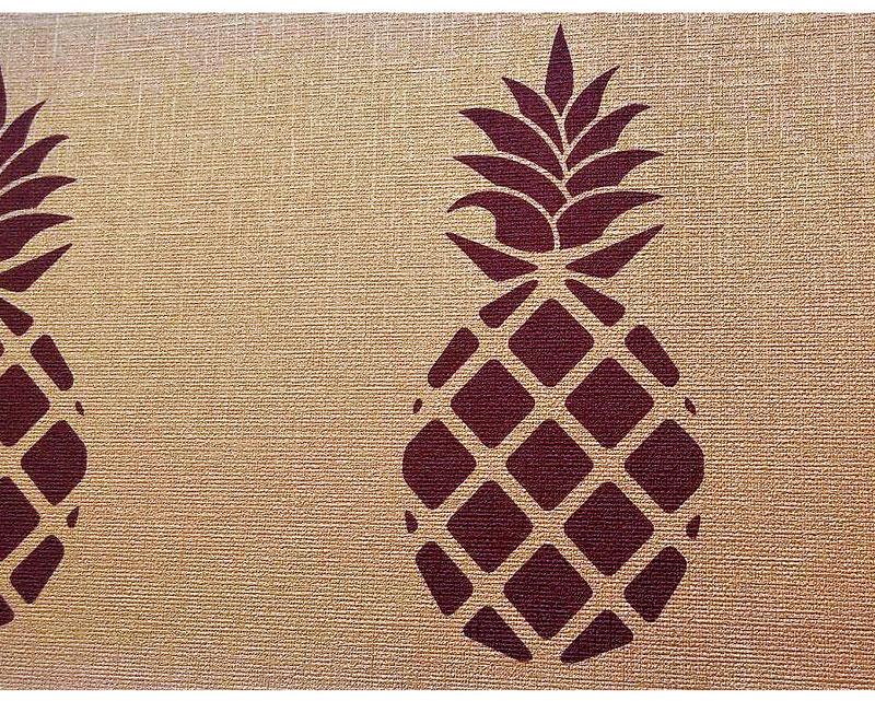Glamour Vinyl Vliesbordüre mit Metallic Bronze - Effekt - Motiv Ananas in trendigen Farben