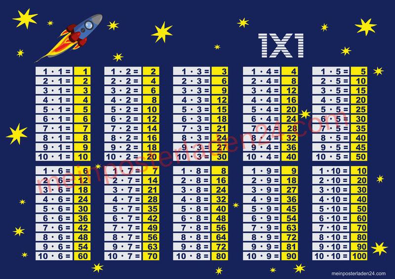 1 x 1 Lernposter für die Grundschule mit Motiv Rakete und Sternchen, optional laminiert