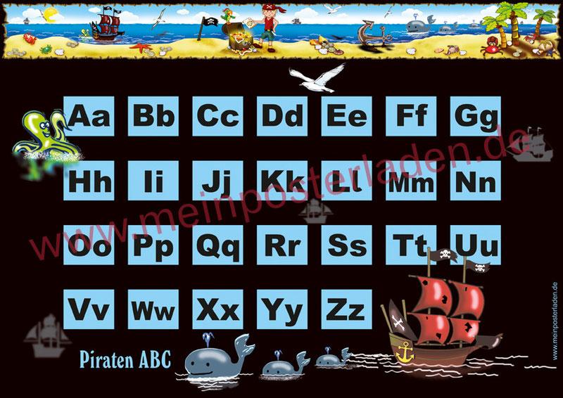 ABC Lernposter für die Grundschule, Kleiner Pirat mit Piratenschiff, Wale, Krake und Goldschatz, optional laminiert