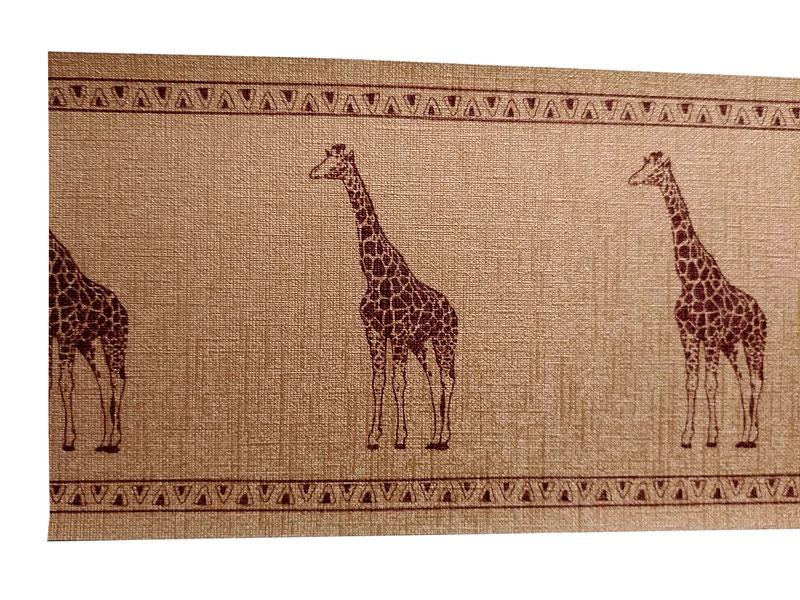 Glamour Vinyl Vliesbordüre mit Metallic Bronze - Effekt - Motiv Giraffe
