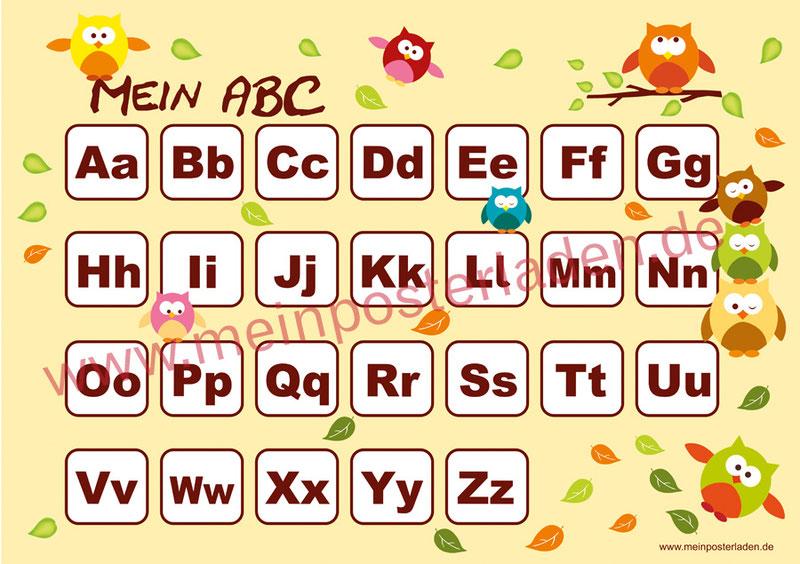 ABC Lernposter für die Grundschule mit lustigen bunten Eulen und bunten Herbstblättern, optional laminiert